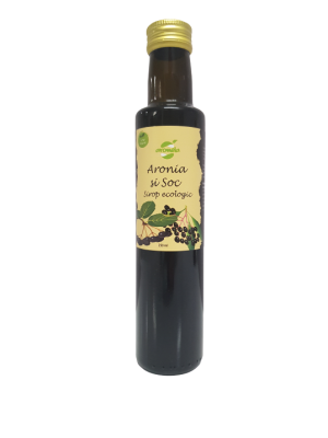 Sirop ecologic de aronia si soc, low sugar, sticla 250 ml