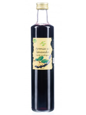 Sirop ecologic de aronia si lavanda, low sugar, sticla 250 ml
